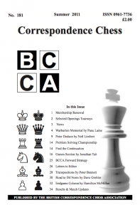 'Correspondence Chess' issue No. 181 Summer 2011